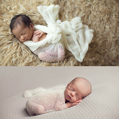 Newborn Baby Swaddle Cocoon Knit Crochet Wrap Photo Photography Prop