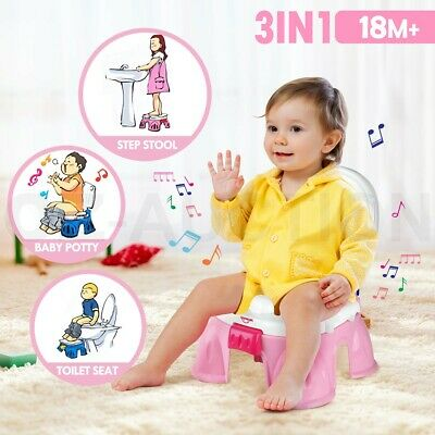 3-in-1 Baby Toddler Toilet Trainer Kids Potty Training Safety Music Seat Pink