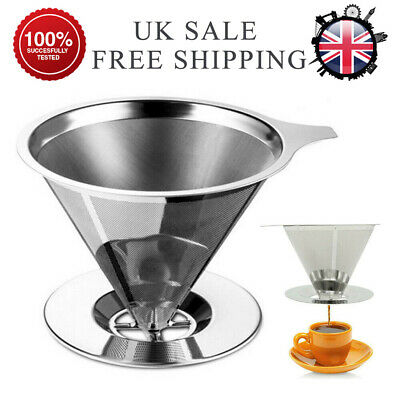 Newly Mesh Coffee Filter Cup Stainless Cone Pour Over Drip Dripper Maker Holder