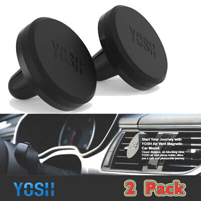 2 x YOSH 360°Magnetic Car Phone Holder Air Vent Mount For SamsungS10 iPhone 8 XS