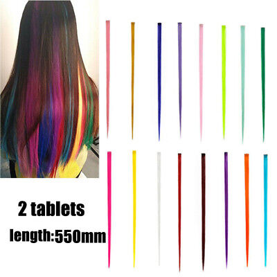 Extension Mèches de Cheveux Perruque Coloré Bicolore Cosplay Clip Raide 40-60cm