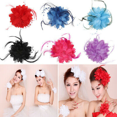 Flower Feather Bead Corsage Hair Clips Fascinator Bridal Hairband Party Corsage