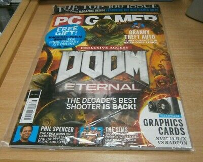 PC Gamer magazine #334 2019 Doom Eternal Exclusive Access, The Sims, PoliceQuest