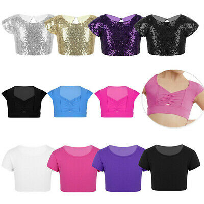 Kids Girls Crop Top Dance Vest Shirt Gym Ballet Jazz Bra Tank Tops Kids Children