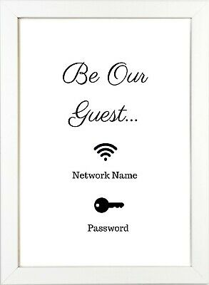'Be Our Guest' Wifi Password Print 210gsm A4 Home Personalised Disney Inspired