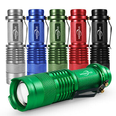 5000LM Mini Portable 6 Color Q5 LED Flashlight Zoomable Torch Light AA/14500