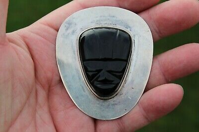 Large Antique -Ola- Mexico Obsidian Mask Sterling Silver Brooch/Pin-40 Grams