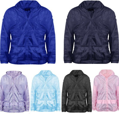 New Kids Girls Boys Lightweight Hooded Pac A Mac Rain Jacket Kagool Cagoule Coat