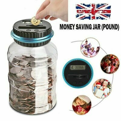 Electronic LCD Coin Money Counting Jar Box Saving Digital Piggy Bank Gift UK
