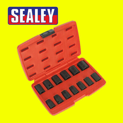 Sealey Air Impact Wrench Socket Set 13 Piece 1/2 Square Drive Metric 10 - 24mm