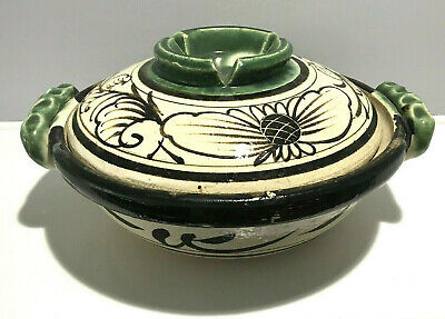 Antique Early Chinese Glazed Pottery Food Serving Cooker Bowl