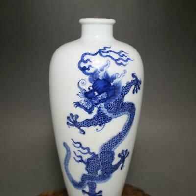 Chinese ancient antique hand make Blue and white porcelain  Dragon pattern vase