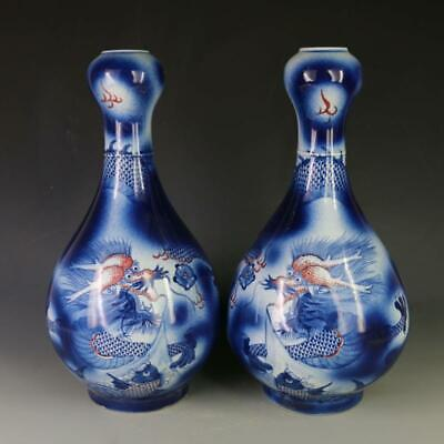 Chinese ancient antique hand make Blue and white glaze red  fish patterns vase
