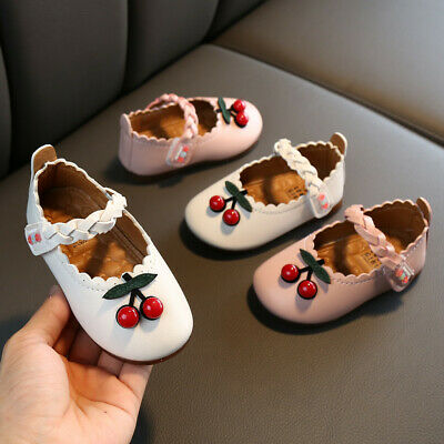 Toddler Infant Kids Baby Girls Cherry Leather Single Princess Shoes Sandals 0-6Y