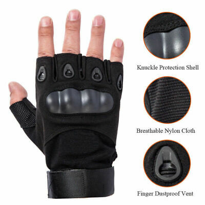 Men's Army Half Finger Gloves Tactical Hard Knuckle Outdoor Military Combat