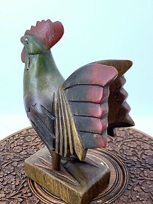 LARGE ROOSTER- HAND MADE WOOD-HAND CARVED- PAINTED 8 Inch