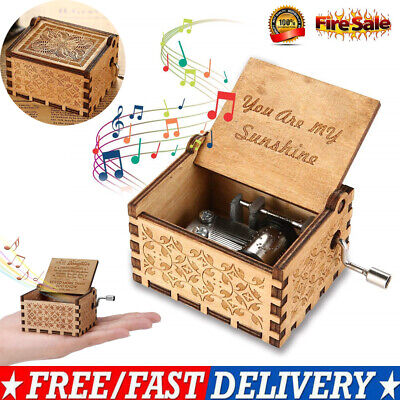 Wooden Music Box Hand Crank Clockwork Birthday Party Gift 'You Are My Sunshine'