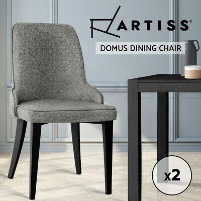 Artiss 2x Dining Chairs Domus Linen Fabric Chair Retro Vintage Steel Legs Grey