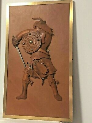 Scottish Highlander  Claymore Sword Shield Wearing Kilt Leather Wood 3D Picture