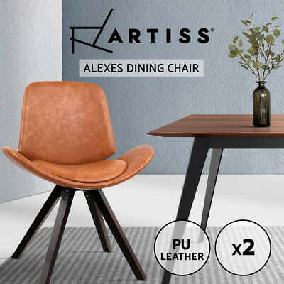 Artiss 2x Dining Chairs PU Leather Padded Chair Seat Timber Kitchen Cafe Brown