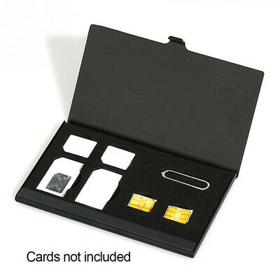 Aluminum Alloy 1 Card Pin+6 SIM Card Holder Protector Storage Case Box Portable