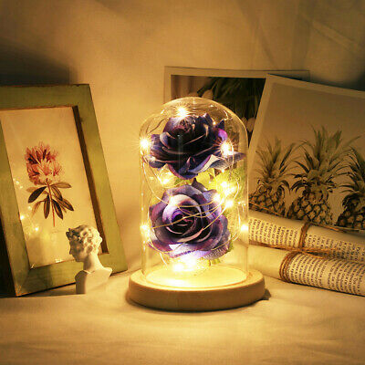Beauty And The Beast Enchanted Blue Rose Glass LED For Best Mother's Day Gift