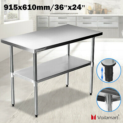 Voilamart Stainless Steel Commercial Work Bench Catering Kitchen Table 3FTx2FT