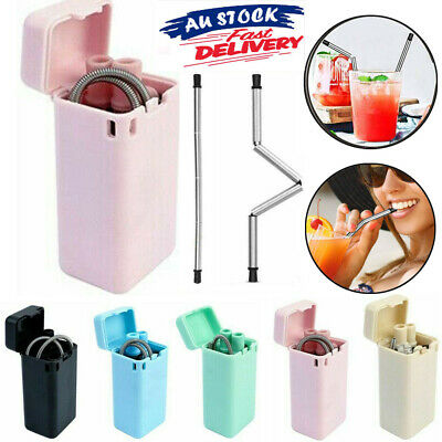 Reusable Collapsible Drinking Straw Foldable Metal Straw W/Storage Case&Brush AU