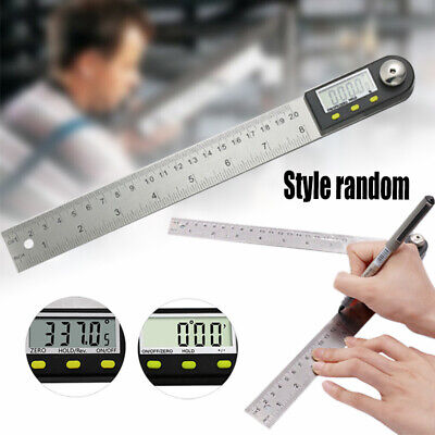 1pcs 200mm 0-360° Portable Digital Protractor Angle Finder Stainless Steel Ruler