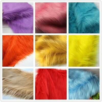 Luxury Faux Fur Shag Fabric Piece Square Swatch Solid  long Pile Costumes Crafts
