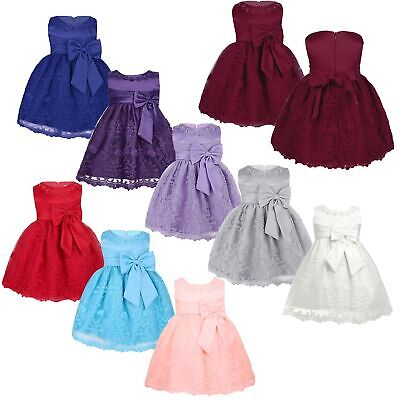 Newborn Baby Princess Flower Girl Dress Kids Girls Pageant Birthday Party Dress