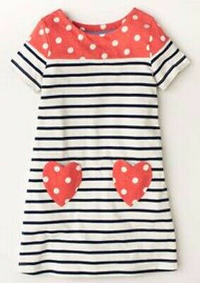 New Girls Mini Boden Striped Heart Pocket Jersey Summer Swing Dresses All Ages