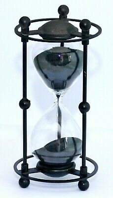 NEW RARE ANTIQUE STYLE CAST IRON CAGED BLACK SAND SMALL HEAVY HOURGLASS. 15 min
