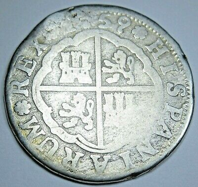 1759 Spanish Silver 2 Reales Piece of 8 Real Colonial Era Two Bits Pirate Coin