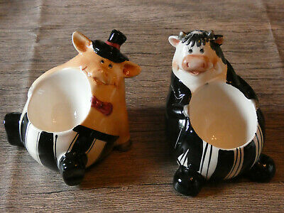 2 X Ceramic Character Egg Cups -  Cow And Pig