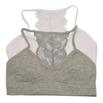 Big Girls White Gray Lace Panel Back Spaghetti Strap 2 Pc Cami Bra Pack 7-16
