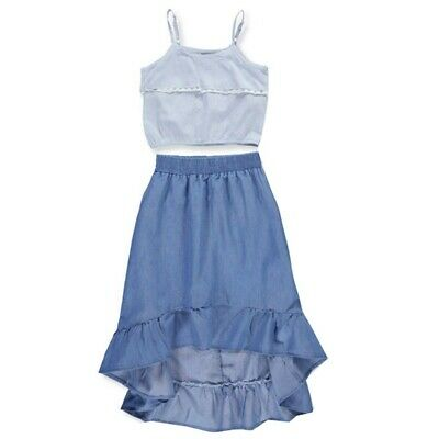 dollhouse Little Girls Blue Contrast Embroidery Ruffle Halter Romper 2T-6X