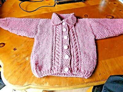 Brand New Hand Knitted Baby Girls  Dusky Pink Aran Cardigan With Collar