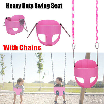 Outdoor Heavy Duty Full Bucket Swing Set For Toddler Baby Seat Play w/Chain Pink