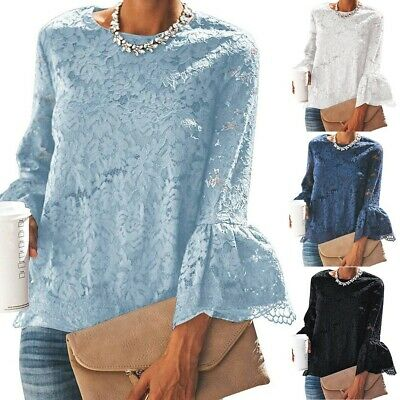 Womens Lady Autumn Lace Blouse Flare Long Flare Sleeve Crew Neck Shirt Top S-2XL