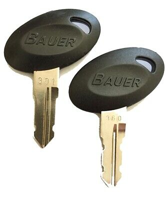 1 Pair (2 keys) Bauer 300 Series Precut Keys 301-360 RV Trailer Keys
