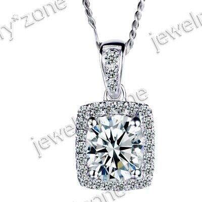 Sale 925 Sterling Silver Cushion Flawless Cubic Zirconia Unique Wedding Pendant