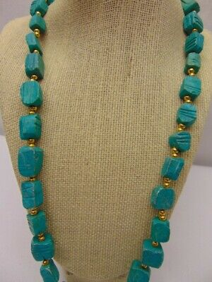 VINTAGE Egyptian Turquoise Faience Beads with Carved Scarab Necklace