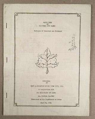 New York City NY: 1941 Program WATER TOUR OF PARKS IN BROOKLYN RICHMOND 12 Pages