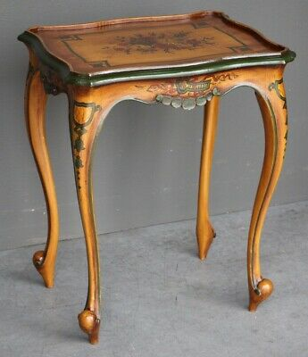 Vintage antique Venetian painted rococo lamp table ornate carved cabriole legs