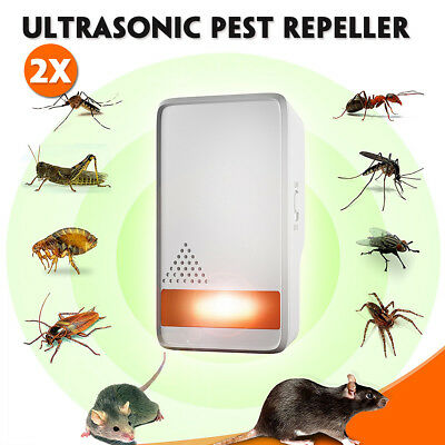 2x Electronic Ultrasonic Pest Repeller Mosquito Cockroach Mouse Killer Repeller