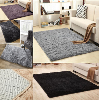 Large Shaggy Floor Rug Plain Soft Sparkle Area Mat Thick Pile Glitter mat UK