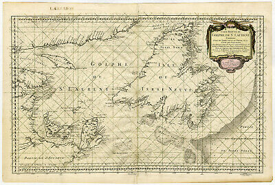 Rare Antique Print-CANADA-GULF OF ST. LAWRENCE-SEA CHART-Bellin-1754