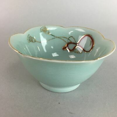 Japanese Celadon Small Bowl Vtg Porcelain Green Kobachi Gourd Chess Floral PT671