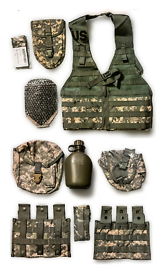 New Usgi Us Load Bearing Vest + Canteen & Cover 5 Pouches, E Tool Shovel & Cover